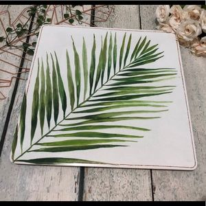 Tropical leaf tray large plastic PC green serving